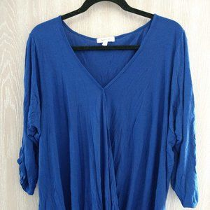 2X Paper Tee Stretchy Bright Blue Top
